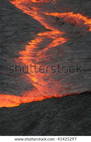 Surface of a lava lake. Erta Ale volcano, Ethiopia, Africa - stock photo
