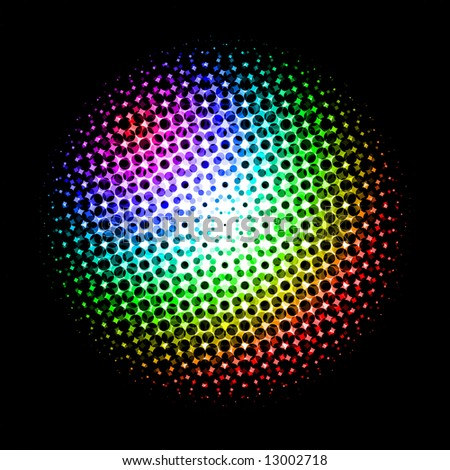 Surface of an abstract sphere with iridescent points