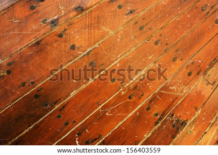 Surface of an old wooden boat - stock photo