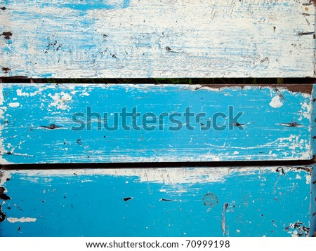 Surface of old wood Paint over with white and blue - stock photo