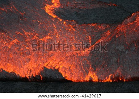 Surface of the Erta Ale lava lake - stock photo