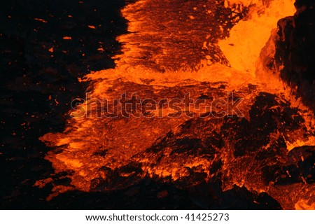 Surface of the Erta ALe volcano lava lake. Ethiopia, Africa - stock photo