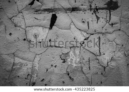Surface peeling paint peeling off on grungy old wall background