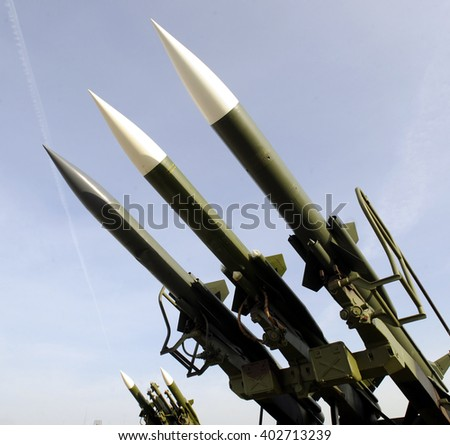 Surface to air missiles on launcher - stock photo