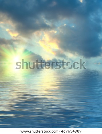 Surface water ripple and reflection of soft sky and clouds background