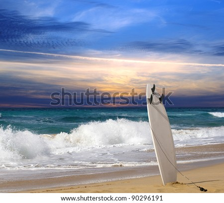 Surfboard on Fuerteventura beach - stock photo