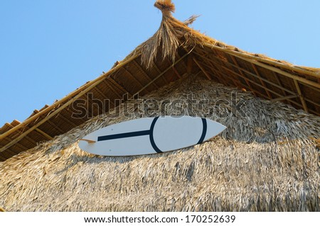 Surfboard on the roof. - stock photo