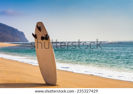Surfboard on the wild beach with nobody - stock photo
