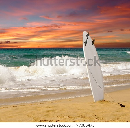 surfboards awaiting fun in the sun - stock photo
