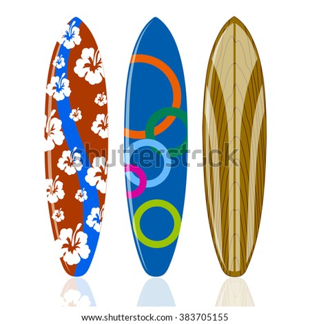 surfboards on a white background