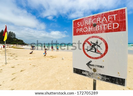 Surfcraft prohibited warning sign at the beach - stock photo