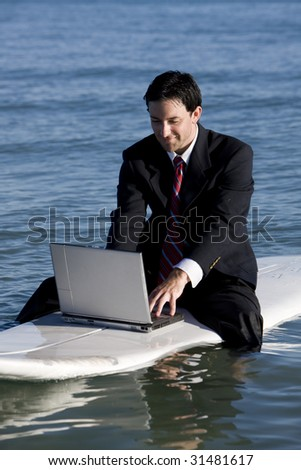 Surfer Businessman - stock photo