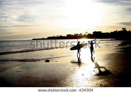 Surfer Girls - stock photo