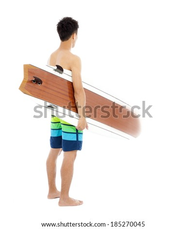 surfer holding a surfboard over white background - stock photo