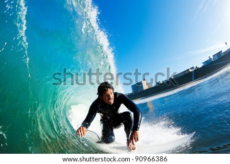 Surfer on Amazing Blue Ocean Wave - stock photo