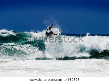 Surfer on an amazing wave on a perfect sunny day