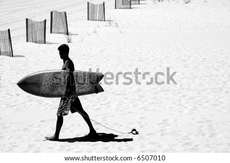 Surfer on Beach by Sand Dune Fences - stock photo