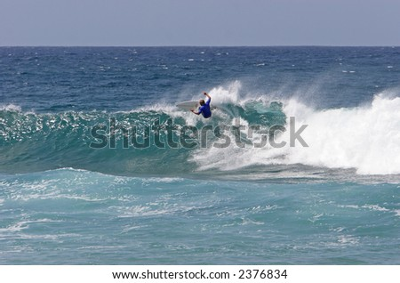 Surfer on the crest of a wave
