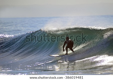 Surfer on the Mosel bay, South Africa - stock photo