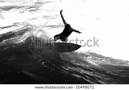 Surfer on the Waves off Bondai Beach, Sydney (Black and White) - stock photo