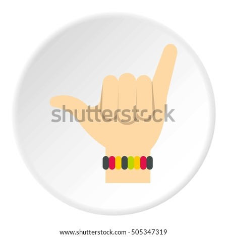 Surfer shaka hand sign icon. Flat illustration of shaka sign  icon for web design