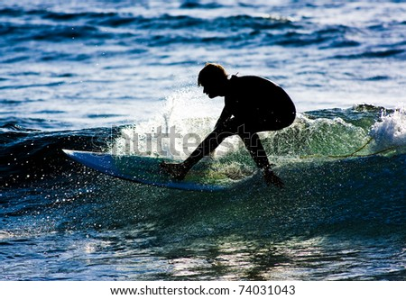 Surfer silhouette in action - stock photo
