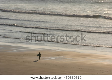 Surfer Walking across the beach