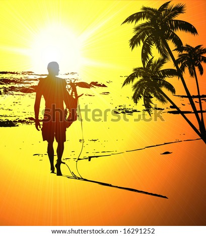 Surfer walking down a colorful beach at sunset - stock photo