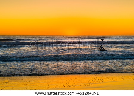 Surfers on the waves. Sunset over the ocean in San Diego. Coast southern California. - stock photo