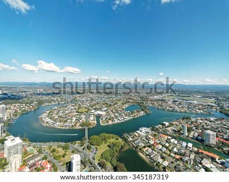 SURFERS PARADISE, AUS - Aug. 10, 2015 Nerang river and buildings of Surfers Paradise, Gold Coast. It is one of Australia's iconic coastal tourist destinations.