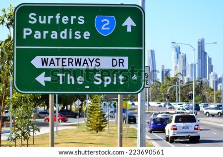 SURFERS PARADISE - OCT 13 2014:Heavy traffic in Surfers Paradise.It one of Australia's iconic coastal tourist destinations, drawing about 10 million tourists every year from all over the world. - stock photo