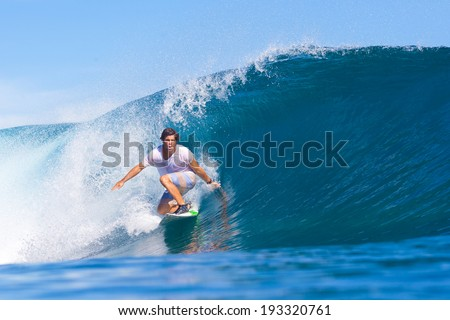Surfing a Wave. Indian Ocean. - stock photo