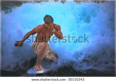 Surfing - artistic colors and low key to increase the dramatic effect - stock photo