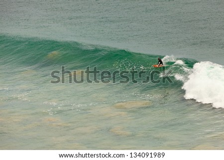 Surfing at Malibu beach. Big waves. USA. California. - stock photo