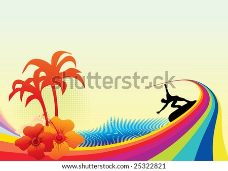 Surfing background rasterized vector image no 25022392 without title text - stock photo