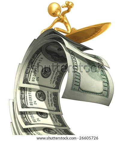Surfing Money Wave - stock photo