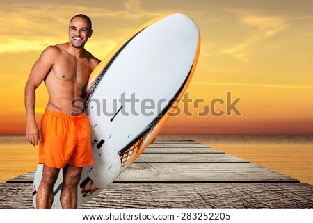 Surfing, Senior Adult, Old. - stock photo