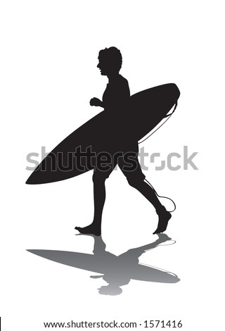 Surfing silhouette walking along to his secret surf spot.  Clipping Path Included. - stock photo