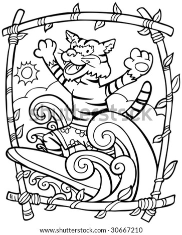 Surfing Tiger - stock photo