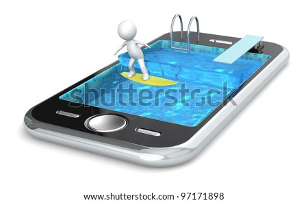 Surfing with your Smart Phone. 3D little human character Surfing on a Smart Phone. People Series. - stock photo