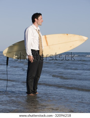 Surfs Up at the Office - stock photo