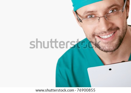 Surgeon close-up on white background - stock photo
