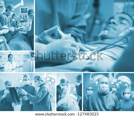 Surgeon team operating in the hospital - stock photo