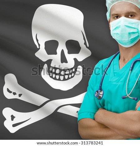 Surgeon with flags on background - Jolly Roger flag - stock photo