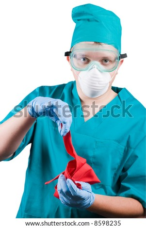 surgeon  with red rag