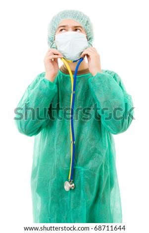Surgeon with stethoscope isolated on white - stock photo