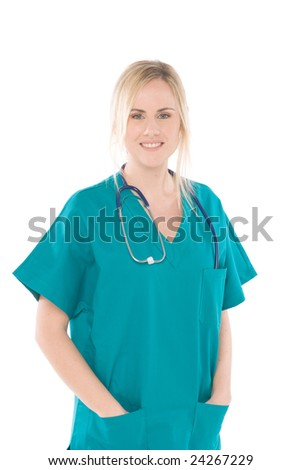 surgery rooms nurse isolated on white background - stock photo