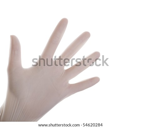 Surgical gloves on isolated white background - stock photo