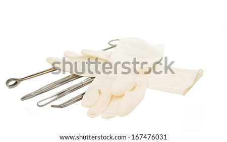 surgical instrument on a white background - stock photo