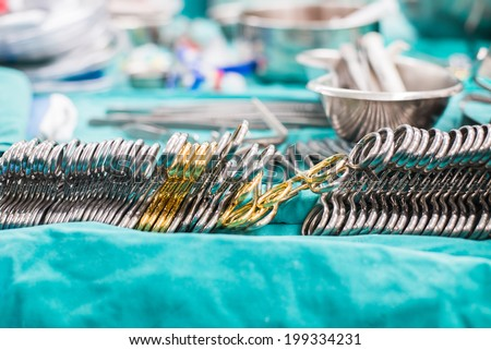 surgical instruments for open heart surgery - stock photo